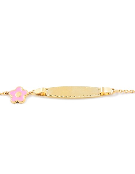 Esclava Bebe Oro Amarillo flor rosa esmalte (9kts)
