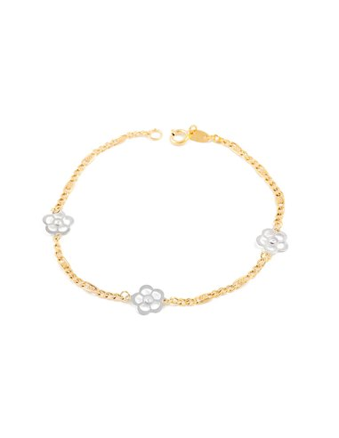 Bracelet Enfant fleurs Or bicolore 9 Carats