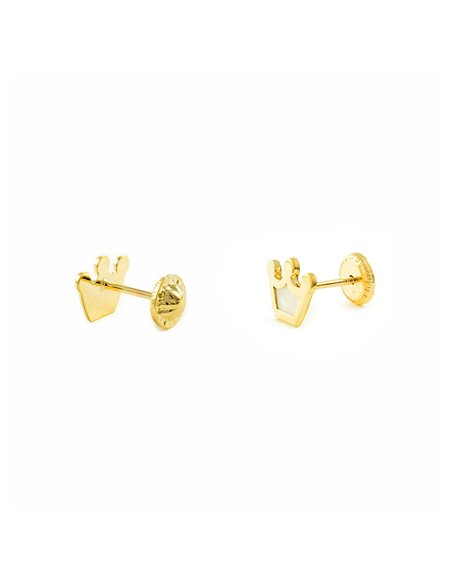 9ct Yellow Gold crown nacre Children's Earrings