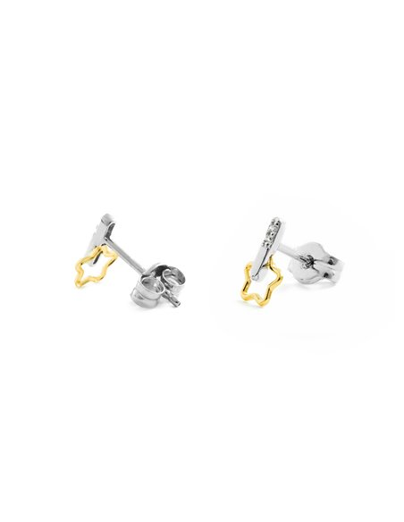 9ct 2 Colour Gold Children's Stars with zircons Earrings