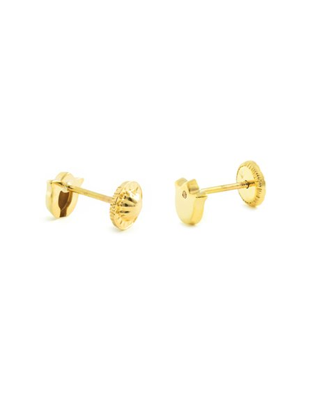 9ct Yellow Gold Children's zircon tulip Earrings