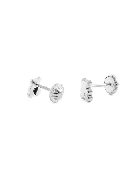 9ct White Gold teddy Baby with diamond Earrings