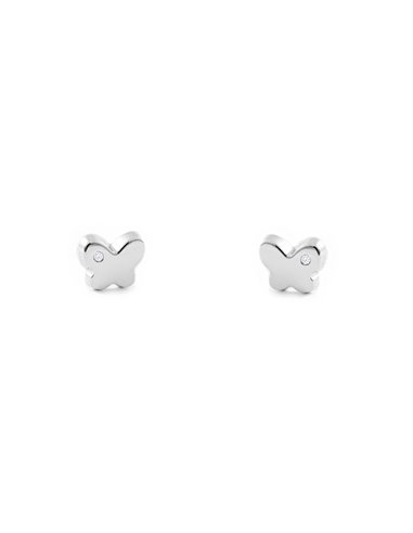 9ct White Gold butterfly with diamond Earrings