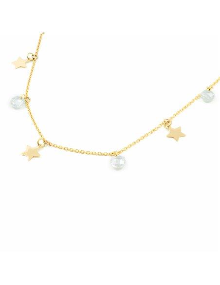 Pendentif Enfant étoiles avec zircons Or Jaune 9 Carats