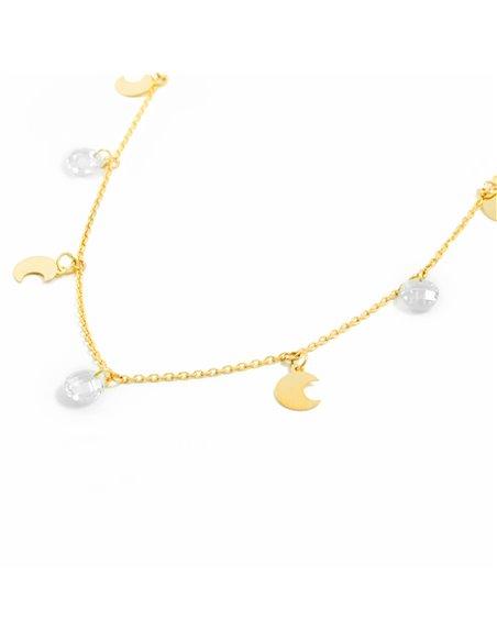 9ct Yellow Gold moons with zircons Children's Pendant