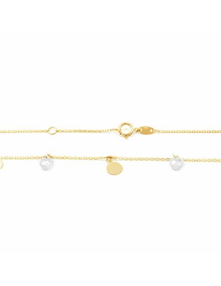 Pendente cerchi con zirconi - oro giallo 9k (375)