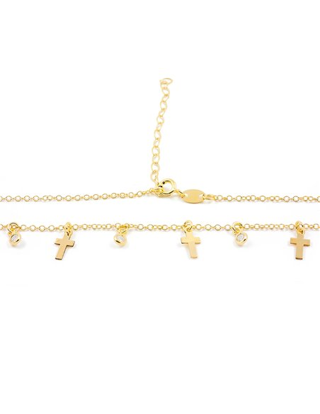 925 Sterling golden silver mini crosses zirconia necklace