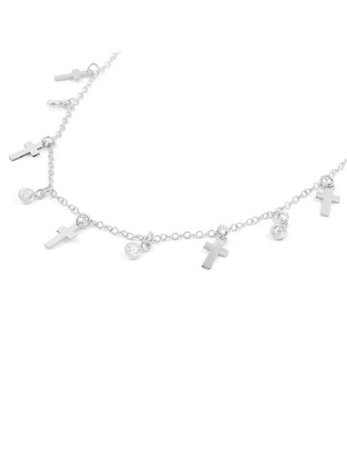 925 Sterling silver mini crosses zirconia necklace