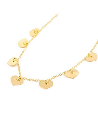 925 Sterling golden silver hearts necklace