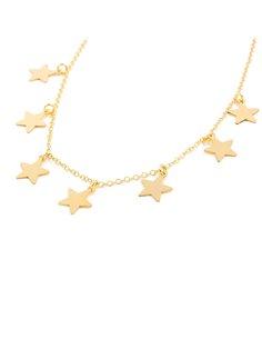 925 Sterling golden Silver Stars necklace