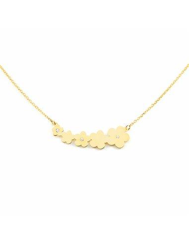 9ct Yellow Gold daisies with zircons Children's Pendant