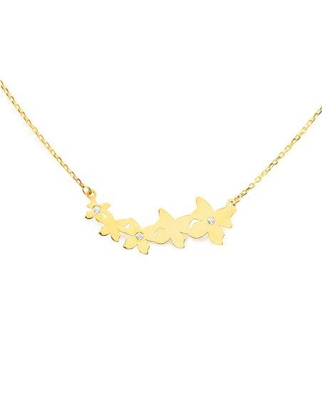 9ct Yellow Gold butterflies with zircons Children's Pendant