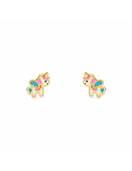 18ct Yellow Gold Enamel Unicorn Children's Earrings