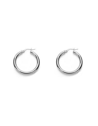 925 Sterling Silver Round Hoop 26(20)x3 mm Earrings