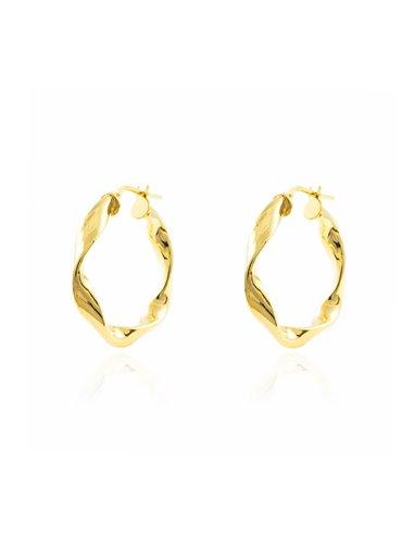 925 Sterling golden Silver Round Hoop 27x4 mm Earrings