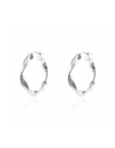 925 Sterling Silver Round Hoop 27x4 mm Earrings