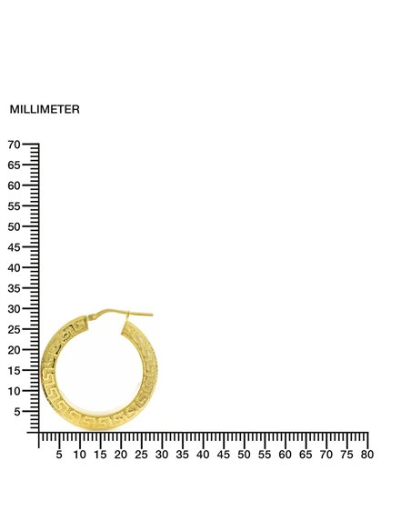 925 Sterling golden Silver Round Hoop 29x4 mm Earrings