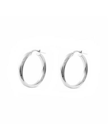 925 Sterling Silver Round Hoop 19x4 mm Earrings