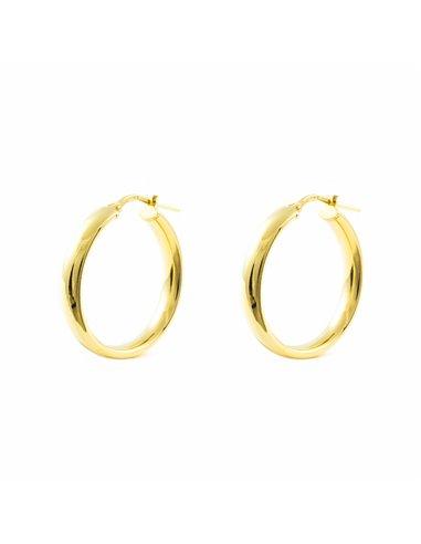 925 Sterling golden Silver Round Hoop 24x4 mm Earrings