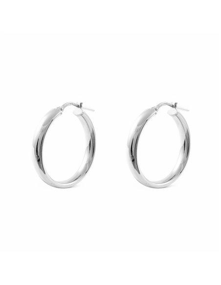 925 Sterling Silver Round Hoop 24x4 mm Earrings