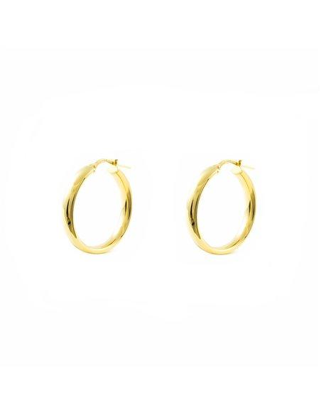 925 Sterling golden Silver Round Hoop 16x4 mm Earrings