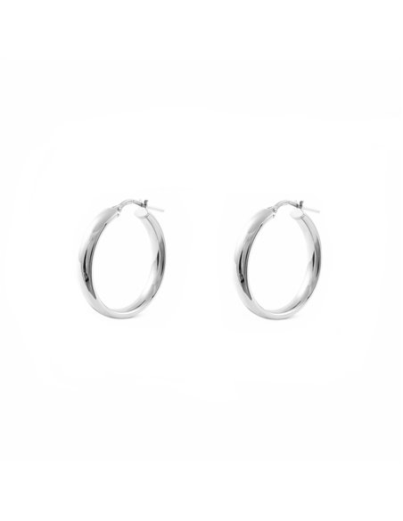 925 Sterling Silver Round Hoop 16x4 mm Earrings