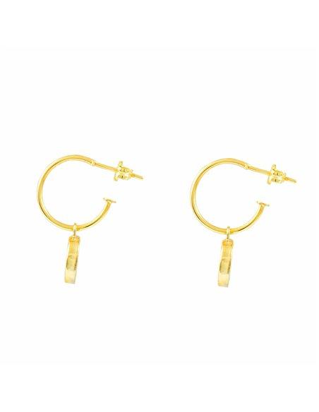 9ct Yellow Gold heart nacre Earrings