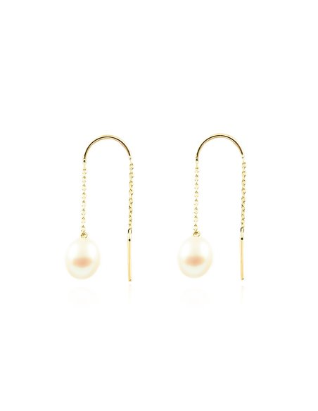 9ct Yellow Gold chain pearl Earrings