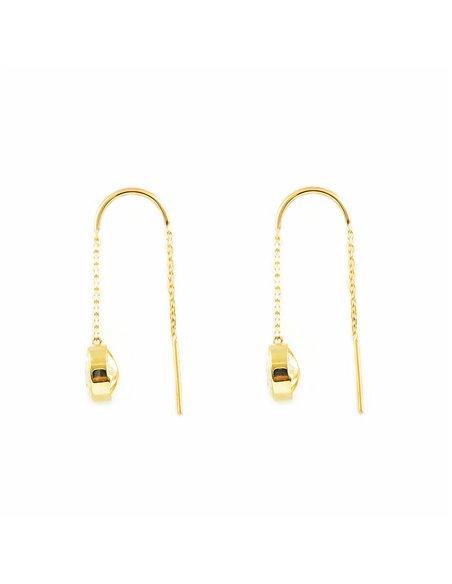 9ct Yellow Gold chain zircon 7 mm Earrings