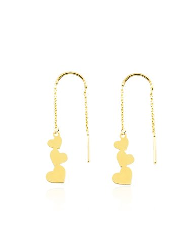 9ct Yellow Gold chain with hearts Earrings