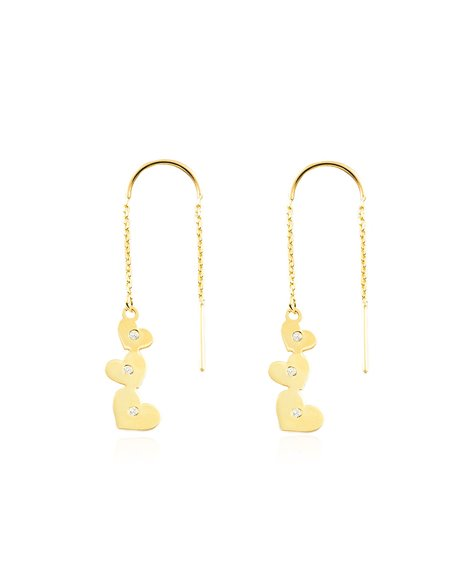 9ct Yellow Gold chain hearts with zircons Earrings