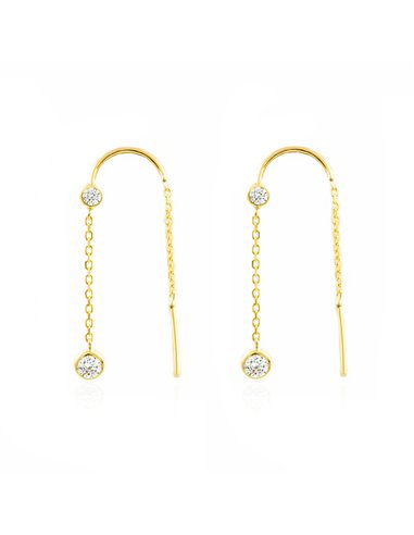 9ct Yellow Gold chain zircons 4 mm Earrings