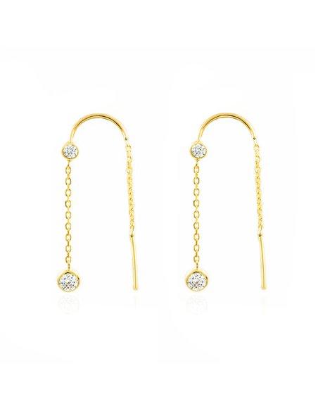 Pendientes Oro largo cadena con chatones 4 mm (9kts)