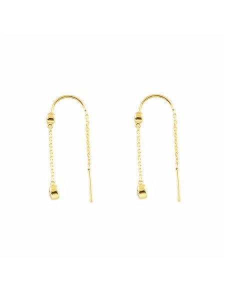 Orecchini per donna o ragazze catena zirconi 4 mm - oro giallo 9K (375)