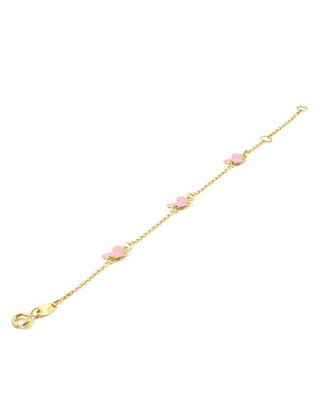 9ct Yellow Gold pink Enameled butterflies