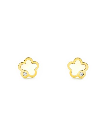 9ct Yellow Gold flower with mother-of-pearl Children's Earrings