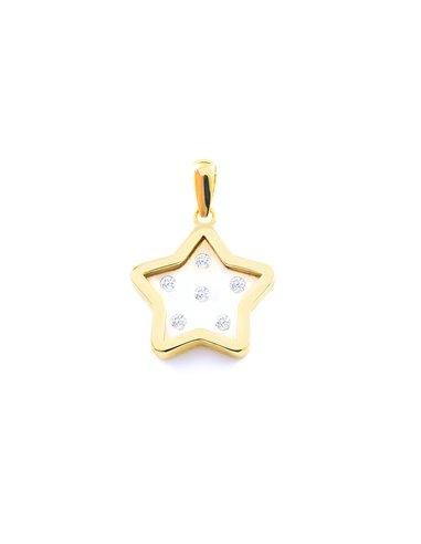 9ct Yellow Gold girl zirconia star Pendant