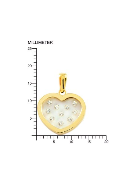 9ct Yellow Gold girl zirconia heart Pendant