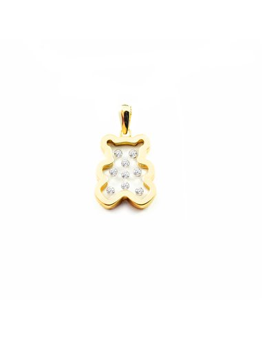 9ct Yellow Gold girl zirconia bear Pendant