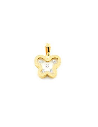 9ct Yellow Gold girl zirconia butterfly Pendant