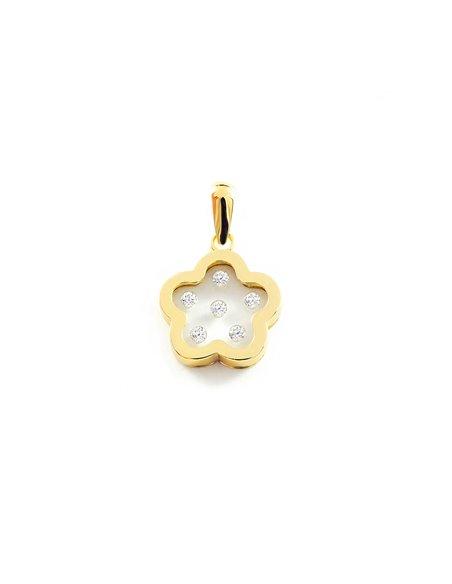 9ct Yellow Gold girl zirconia Daisy flower Pendant