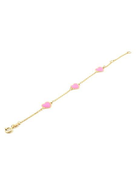Bracciale cuori smaltati rosai per bambini - oro giallo 9k (375)