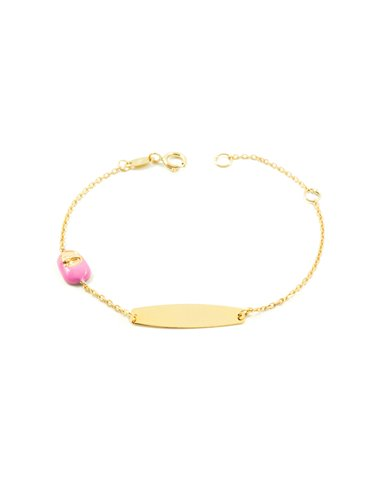 Esclava Bebe Oro Amarillo zapato rosa esmalte (9kts)