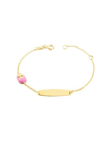 Bracelet Enfant chaussure émaillée rose Or Jaune 9 Carats