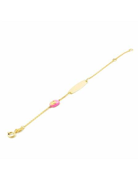 Bracciale scarpa smaltata rosa per bambini - oro giallo 9k (375)