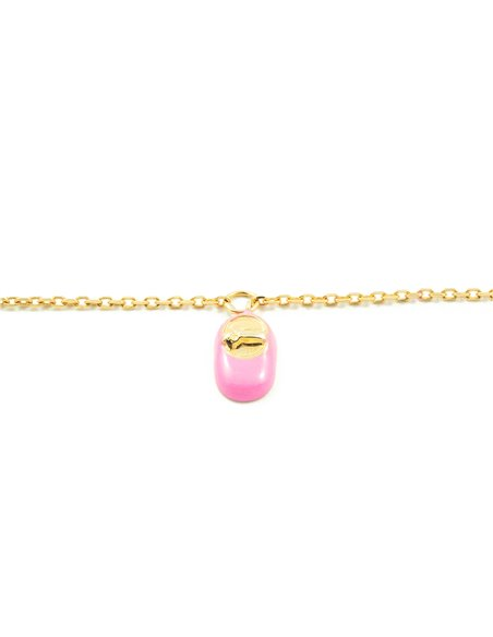 9ct Yellow Gold Baby charm pink enameled shoe Bracelet