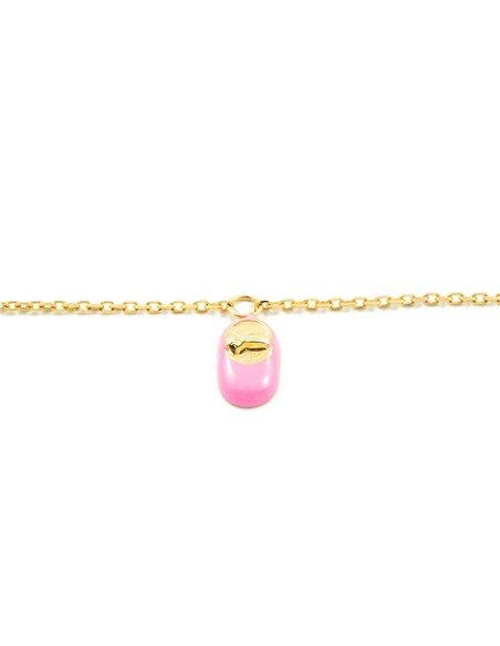 Esclava Bebe Oro Amarillo zapato motivo rosa esmalte (9kts)