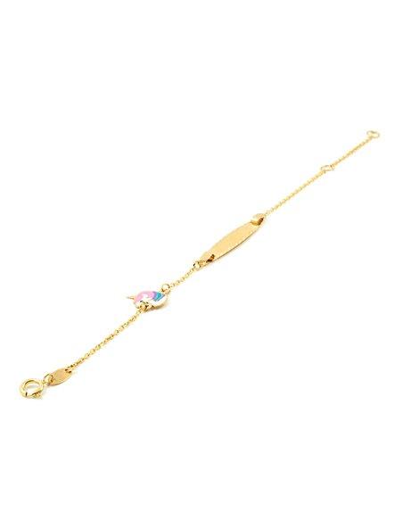 Damen & Kinder emaillierter Einhörner Armband - Gelbgold 9 Karat (375)