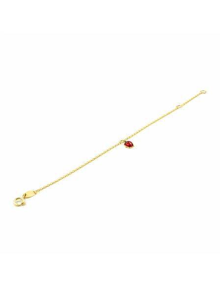 Bracciale coccinella smaltata per bambini - oro giallo 9k (375)