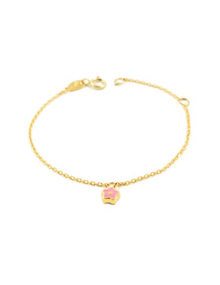 9ct Yellow Gold Baby charm pink enameled flower Bracelet